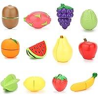 VFunix おままごと キッチン セット まな板 包丁付き 切れる食べ物 子ども用 ごっこ遊び (フルーツ 16点)
