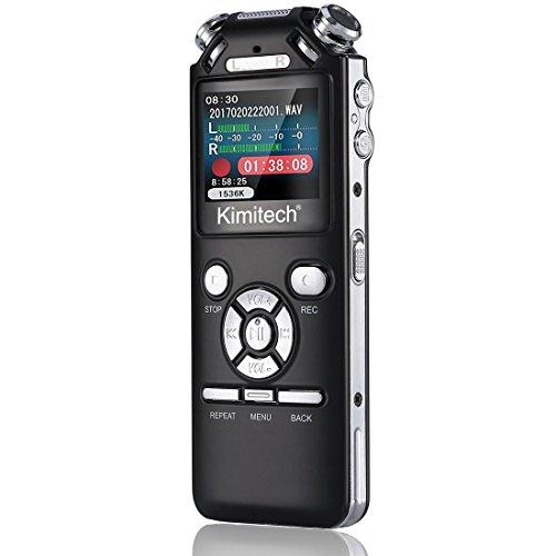 Kimitech ボイスレコーダー ICレコーダー 小型 高音質 8GB 録音機 長時間連続録音 内蔵スピーカー イヤホン付き 日本語説明書