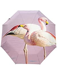KASAMOピンク フラミンゴ折りたたみ傘 子供 キャラクター ワンタッチ自動開閉 耐強風 折りたたみ傘 レディース 晴雨兼用 軽量 紫外線傘 UVカット