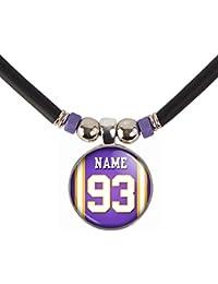 Minnesotaミネソタ州ネックレスあなたの名前と番号ガラスペンダントネックレスjewelry-カスタムMinnesotaフットボールジャージーガラスチャームネックレス