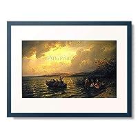 Gude, Hans Fredrik,1825-1903 「Abends am See-Ufer. 1869.」 額装アート作品