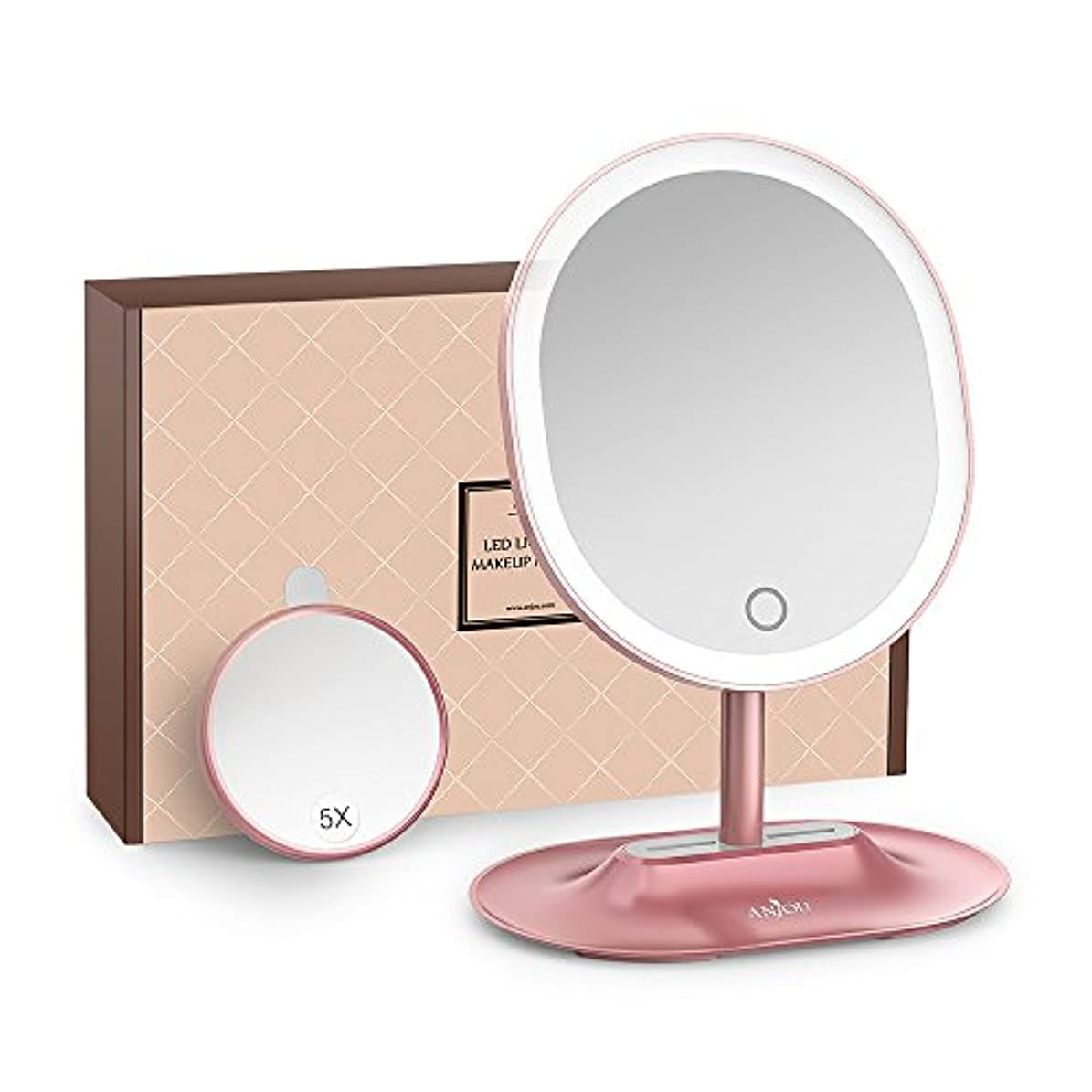 そこハウス直接Anjou 化粧ミラー LED 卓上 5倍 拡大鏡 タッチパネル 明るさ調節可 メイク スタンドミラー 120度回転 USB充電 トレー付 (ローズゴールド) AJ-MTA005