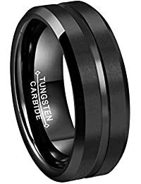 RoyalKay 4mm 6mm 8mm Black Tungsten Wedding Band Ring Men Women Matte Brushed Finish/Grooved Center Beveled Edges Comfort Fit Size 3 to 17