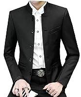 gawaga メンズスリムフィットスタンドカラーロングスリーブ軽量ブレザージャケットスーツコート Black M