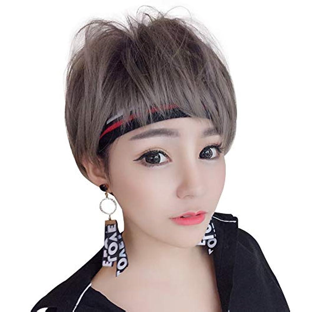カートンキュービックヘアSRY-Wigファッション 前髪の男性の髪のかつらと女性の黒い根から灰色の髪までのふわふわの自然なファッションかつら