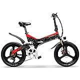 G650 20インチ折りたたみ自転車400W 48V 12.8Ahリチウムイオンバッテリー5レベルペダルアシストフルサスペンション (赤?, 12.8Ah + 1予備バッテリ)