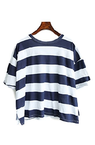【Wild Cats】レディース Tシャツ 半袖 ボーダー 着ごごち抜群 ゆったり (M L XL 2XL) エコバック付き ブルー2XL