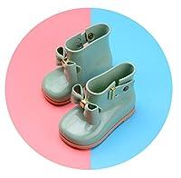 防水チャイルドラバーブーツゼリー柔らかい幼児の靴の女の子の赤ちゃんの雨のブーツ弓と子供たち女の子子供の雨の靴弓,green 2,10