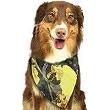 Derrick Amanda 花 黄色い ペットスカーフ 犬用 猫用 アクセサリー お出かけ スカーフ よだれカバー 食事用 お散歩 お出かけ ペットバンダナ 三角形スカーフ おしゃれ 唾液スカーフ ネッカチーフ コスチューム