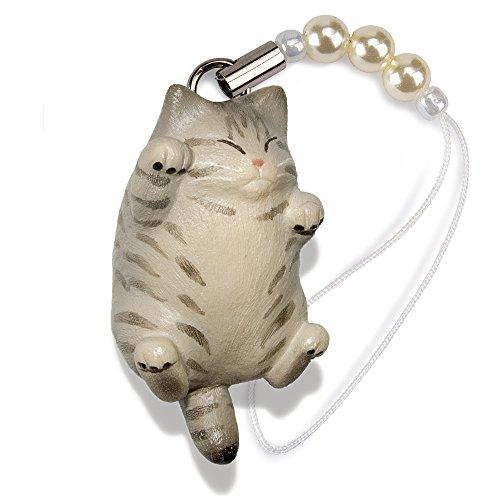 ペットラバーズ 猫どん でぶ猫 サバトラ ビーズ ストラップ N-2307