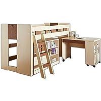 オリジナル システムベッド ロフトベッド 木製 マーズ 学習机 デスク付 システムデスク (ナチュラル×ブラウン【マーズ】)