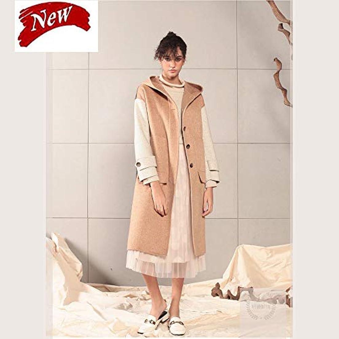電化するそれ一回ウールコート、女性の秋と冬のコートカラーマッチングコート両面ウールコートウールコートレディースコートレディースウインドブレーカージャケット,ブラウン,S