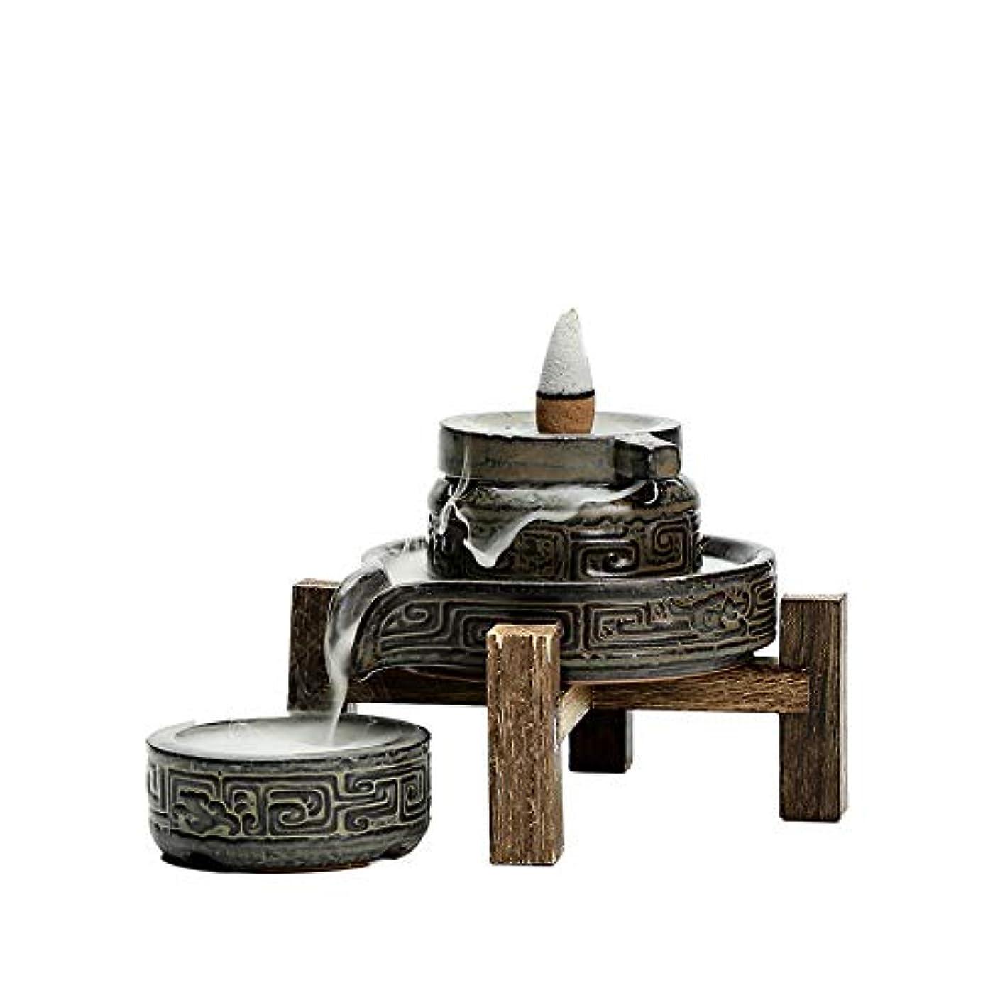 スナック不足相対的PHILOGOD 香炉 陶器ストーンミルモデリング逆流香炉 香立て 手作りの装飾 香皿