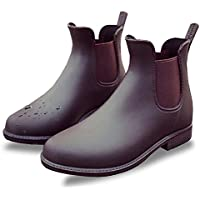 [chorbmark] レディース サイドゴア レインブーツ 防水 普段履き 6サイズ (ブラック、ブラウン)