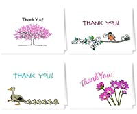 Thank You Note Card Pack - 18 Blank Note Cards & Envelopes - Spring, Summer