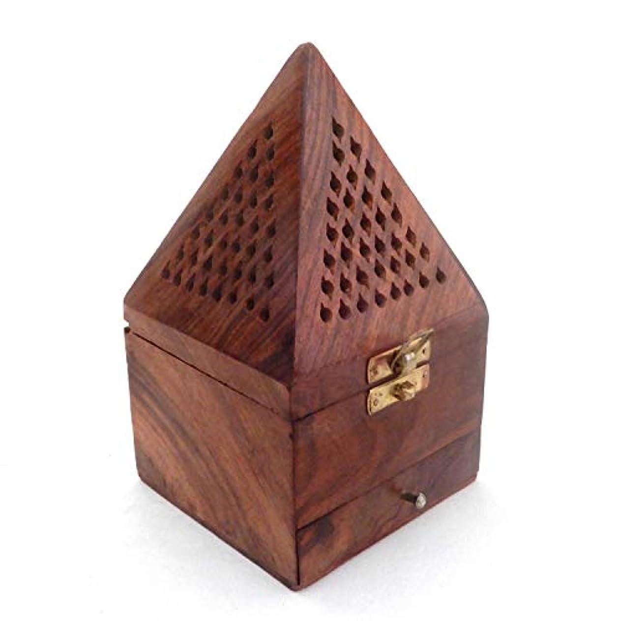 雇った名前を作る接続クリスマスプレゼント、木製ピラミッド形状Burner、Dhoopホルダーwith Base正方形とトップ円錐形状Dhoopホルダー