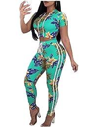 VITryst 女性のジャンプスーツトップス花柄パンツフード2ピース衣装