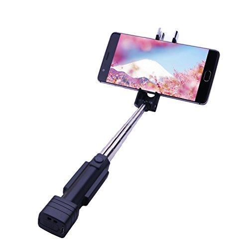 Tenswall 自撮り棒 セルカ棒 Bluetooth無線 シャッターボタン付き ワンタッチ式 7段階伸縮調節 遠隔操作 折りたたみ一体型 小型軽量 携带便利 iPhone/Android対応