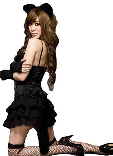 猫のコスプレ 猫の可愛い女の子 リードダンサーの服 ナイトクラブの制服 黒の高級かぼちゃパンツがセットになって登場!