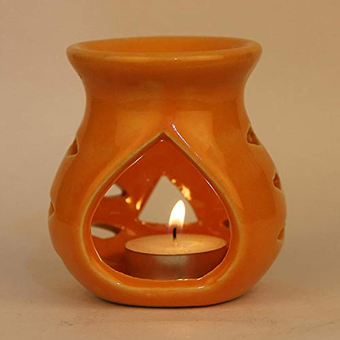 刺す重要な間接的Pure Source India Ceramic Aroma Burner Clay Lamp,3 x4 (Orange)