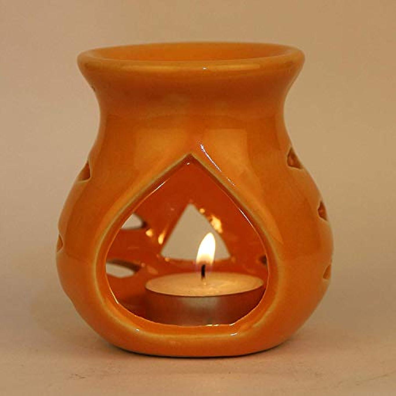 説得力のある自信がある交通渋滞Pure Source India Ceramic Aroma Burner Clay Lamp,3 x4 (Orange)