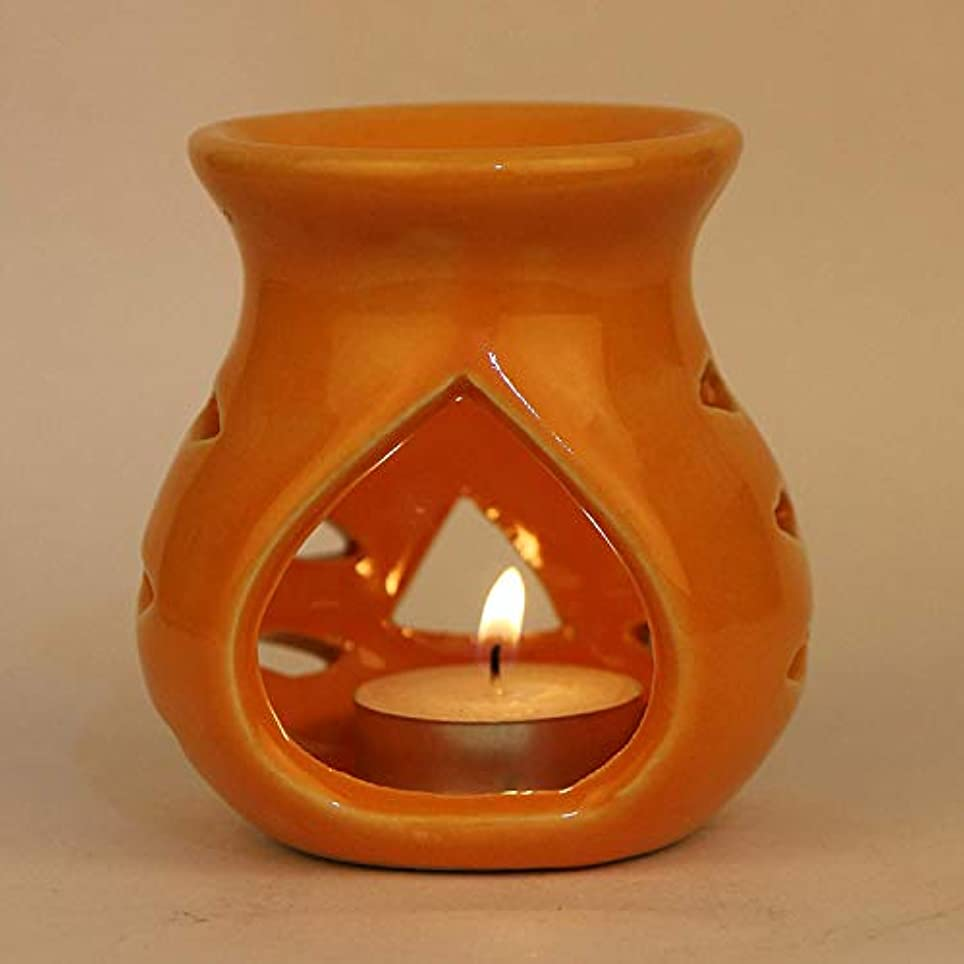 リレー交通渋滞貴重なPure Source India Ceramic Aroma Burner Clay Lamp,3 x4 (Orange)