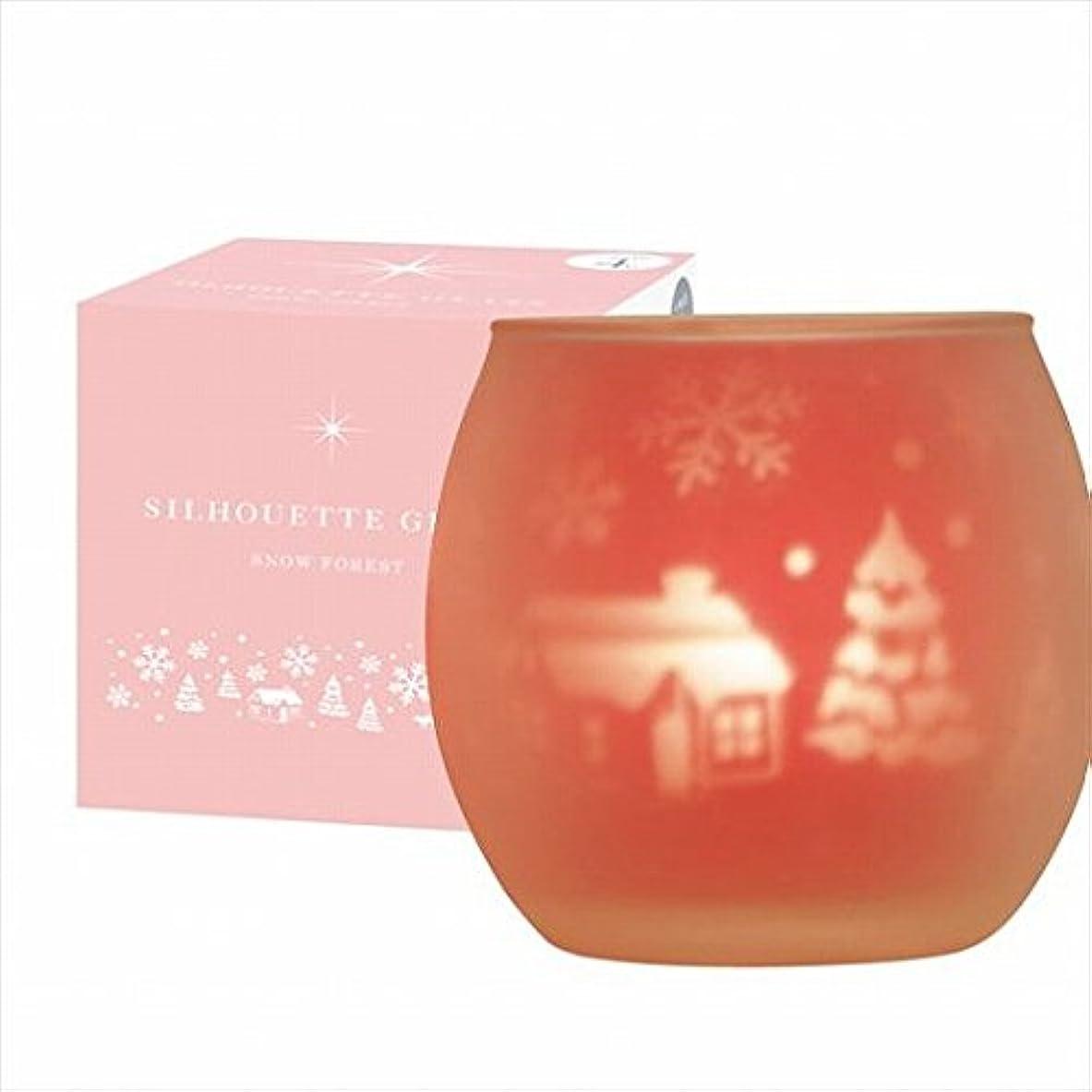 エスニック鋸歯状砂カメヤマキャンドル(kameyama candle) スノーフォレストシルエットグラス【キャンドル4個付き】