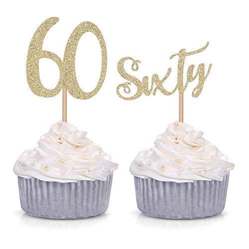 24個 グリッター 60番 カップケーキトッパー 60歳の誕生日お祝いパーティーデコレーション (ゴールド)