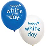 ホワイトデーバルーン 丸型ゴム風船 青+白セット 50個  21978