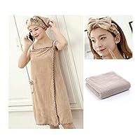Jinnuotong01 乾いた髪キャップは、バスタオルはバススカートフォーピーススーツのかわいい韓国語バージョン(風呂スカート+ドライヘアーキャップ+ヘアバンド+タオル)、その他のさまざまな色に包まれてすることができます ,乾燥しやすい (Color : Camel, Size : 115*85cm)