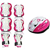 Fashion Scooter Safety Helmet Riding Helmet Skates Roller Skates Protective Gear Six Sets of Luminous Protectors Pretty (Color : Pink, Size : L)