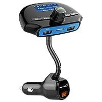 Bluetooth FM送信機QC 3.0デュアルUSB車載充電器ワイヤレスラジオアダプタ車キットmp3プレーヤーTFカードスロットHands Free for iPhone , Samsungと他