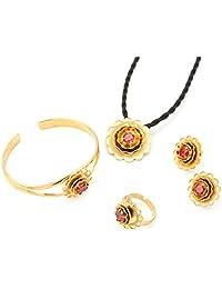 Flower Ethiopian Jewelry Wedding Pendant Chain Earrings Ring Africa Eritrea Ethiopia Silver Plated Jewelry