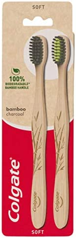 Colgate Bamboo Charcoal Manual Toothbrush 100% biodegradable bamboo handle Soft, 2 count
