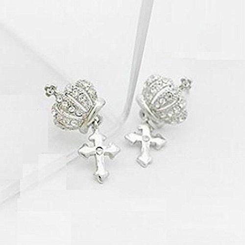 [해외]왕관 × 크로스 십자가 귀걸이 장식 라인 스톤/Crown × cross cross Earrings Chirped rhinestone