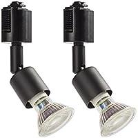 ダクトレール用スポットライト E11 LED電球付き 50W ライティングバー用器具セット ライティングレール 2個セット(電球色, ブラック器具)