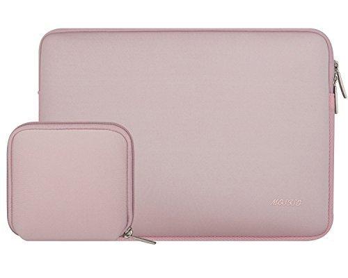 Mosiso ラップトップバッグ スリーブケース 新型 防水 ネオプレン製 アダプタのポーチセット付き 全四色 13-13.3インチ(ピンク)