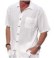 Romancly メンズコットンリネンシムフィットピュアハーフスリーブラペルカラーシャツ White S