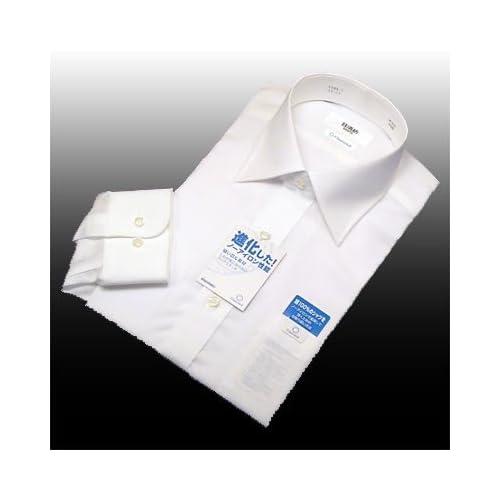 綿100%形態安定「日清紡シャツ」白 セミワイド 39-80