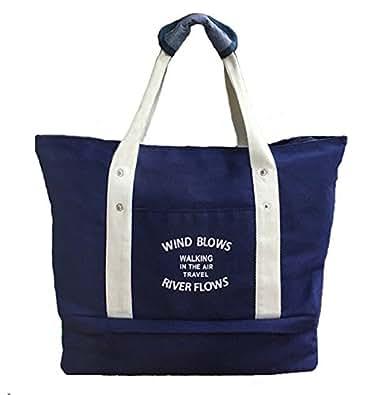 FANG スポーツジム 靴まで入る 大容量トートバッグ マザーズバッグ(ブルー)