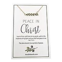 クリスマスで平和 2018 LDS 奇跡テーマ オリーブの枝ネックレス ゴールド