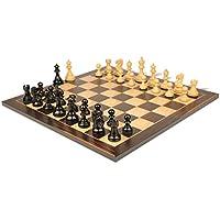 デラックス古いClub Stauntonチェスセットin Ebonized Boxwood with Macassarチェスボード – 3.25