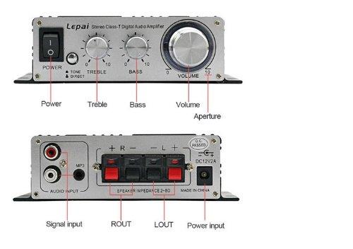 Lepai デジタルアンプ LP-2020A+ Tripath TA2020-020 シルバー+12V2Aアダプター付属