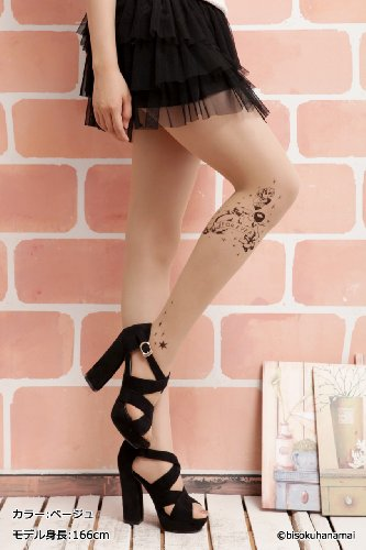 (Best Beauty) タトゥーストッキング エンジェル柄 20デニール 片足に柄入り M-Lサイズ レディース タトゥータイツ