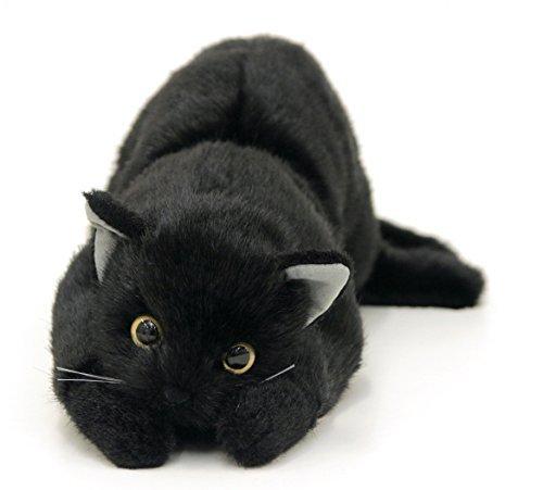 日本製 リアルな猫のぬいぐるみ 58cm (クロネコL目明き)