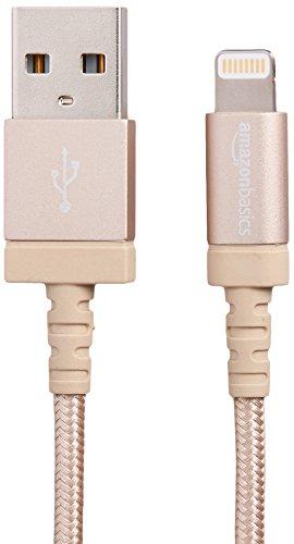 Amazonベーシック ライトニングケーブル  Apple認証  高耐久ナイロン ゴールド 1.8m