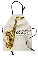 Music Apron by Lunarable, Classic Painting of Jazz Saxophone Print on Plain Background Vintage Style Band Deco, Unisex Kitchen Bib Apron with Adjustable Neck for Cooking Baking Gardening, Yellow Ecru [並行輸入品]