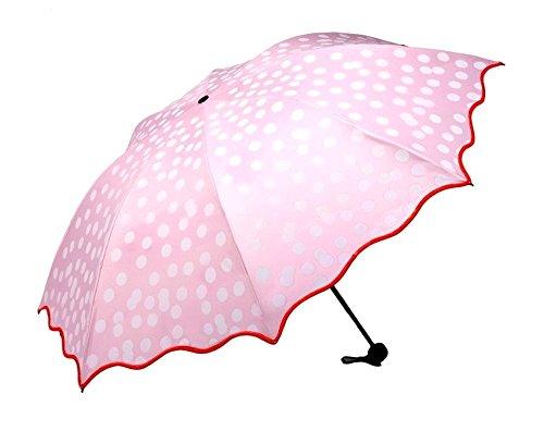 ピースマイル(p-smile) 光が当たると色が変わる 日傘 完全遮光 晴雨兼用 日傘 折り畳み傘 三つ折り UVカット 紫外線遮蔽率99% ドット柄 レディース
