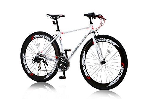 CANOVER(カノーバー) クロスバイク 700C シマノ21段変速 CAC-025 (NYMPH) ディープリム グリップシフト フロントLEDライト付 ホワイト