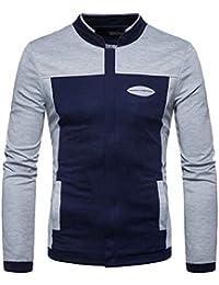 maweisong メンズ秋スタンドスタンドカラーブロック軽量スリムフィットカジュアルジャケット